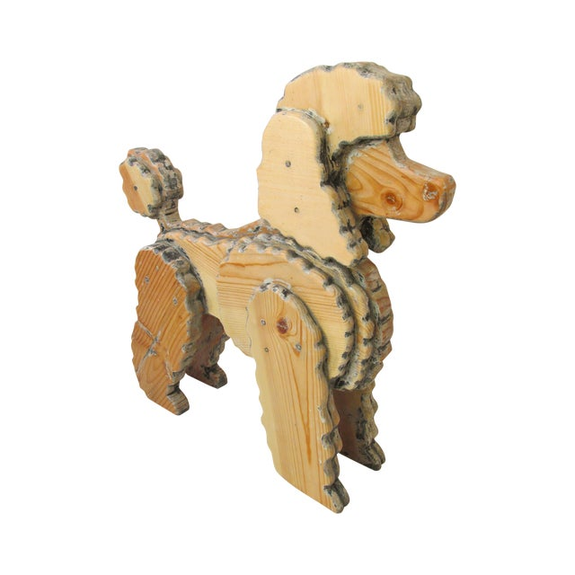 Life Size Wooden Poodle Sculpture - Image 1 of 7