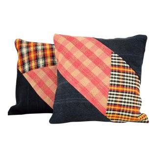 Antique Turkish Kilim Pillow Covers - Pair