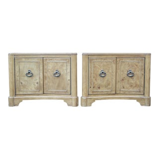 Brass Pull Burl Wood Nightstands - A Pair
