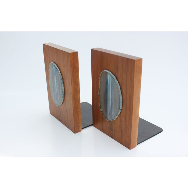 Agate Slice and Wood Bookends - Image 2 of 8
