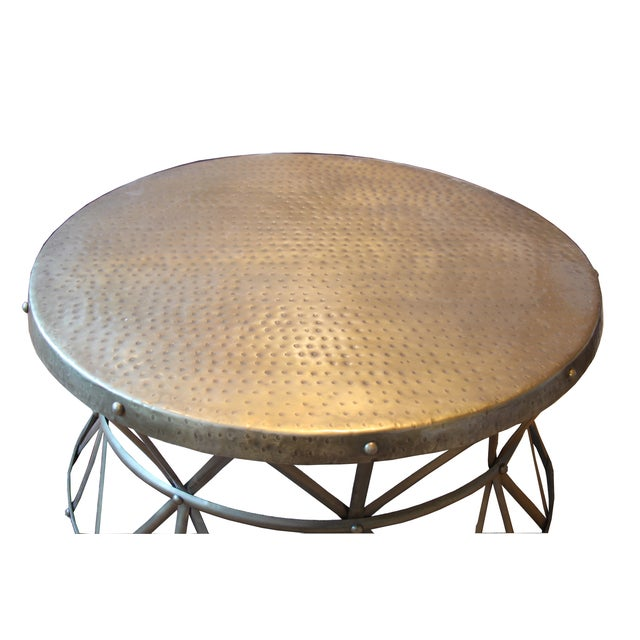 Hammered Brass Round Coffee Table