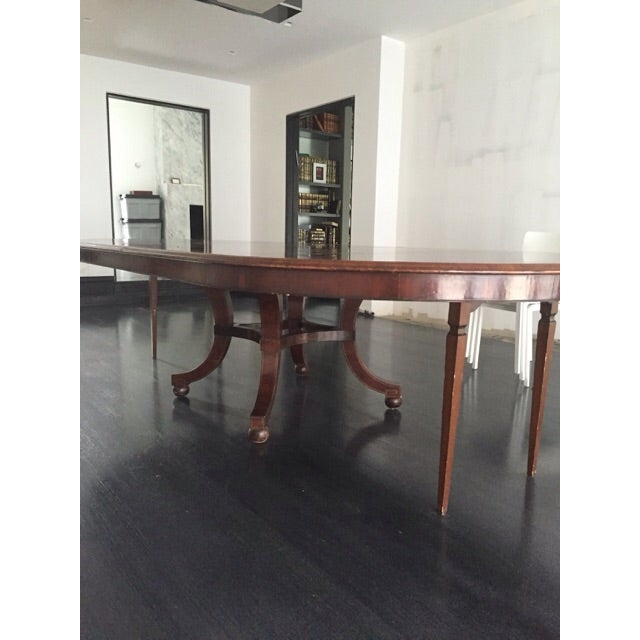 Round to Oval Inlaid Oak Extension Dining Table - Image 5 of 11