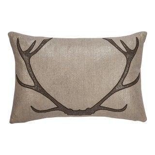 "Piper Collection Brown Antler Linen ""Prancer"" Pillow"