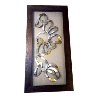 Vintage Framed Metal Ribbon Sculpture