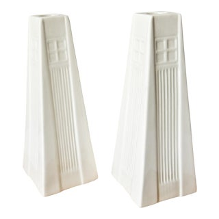 White Belleek Candle Holders - A Pair
