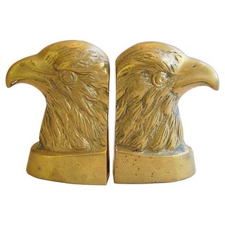 1950s Patriotic Brass Bald Eagle Bookends