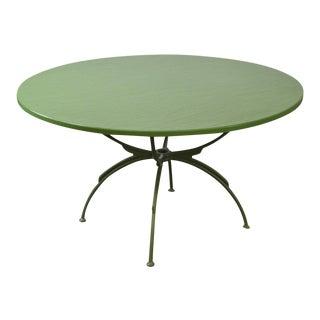 Woodard Mid Century Modern Round Green Patio Dining Table