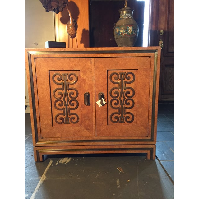 Image of Vintage Burlwood With Brass Accents Cabinet