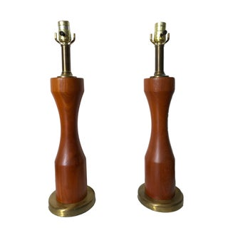 Mid-Century Wood and Brass Table Lamps - Pair