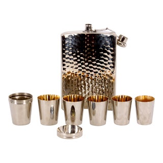 C 1940 German Flask & Shot Glasses- Set of 7