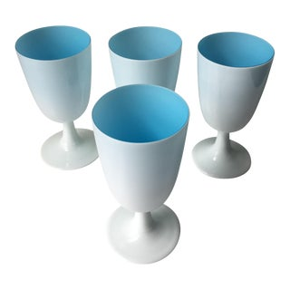 Blue & White Opaline Milk Glass Goblets - Set of 4