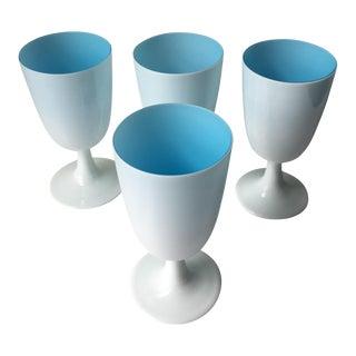 Blue & White Opaline Milk Glass Goblets - Set of 4