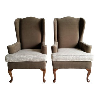 Vintage Queen Anne Wingback Chairs - Reupholstered Pair