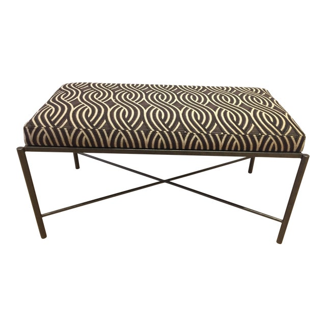 Serpentine Jacquard Upholstery Bench - Image 1 of 3