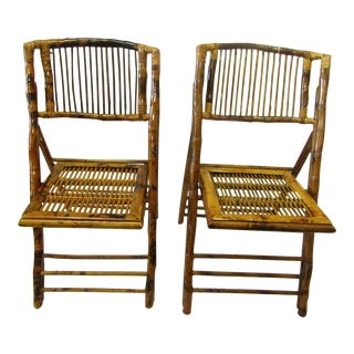Burnt Bamboo Folding Chairs - A Pair