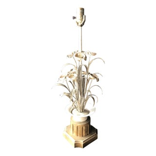 White & Gold Floral Tole Wire Lamp