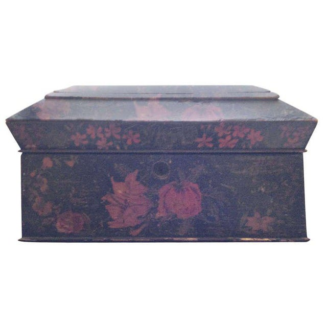 Painted English Victorian Tea Caddy with Original Fittings and Lined in Velvet - Image 8 of 8