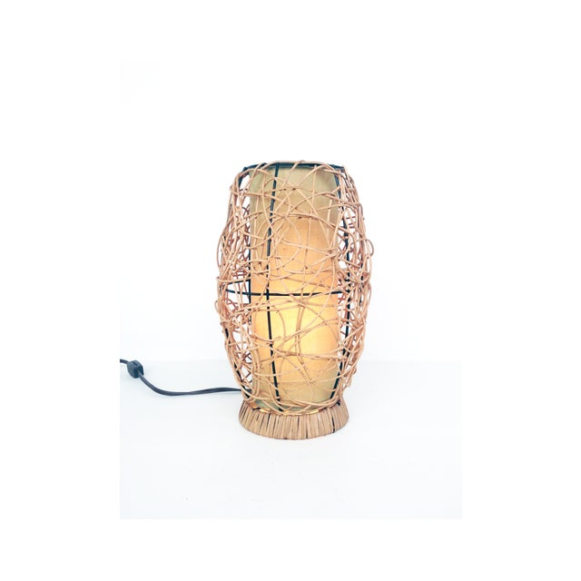 Midcentury Rattan Beehive Table Lamp - Image 2 of 5