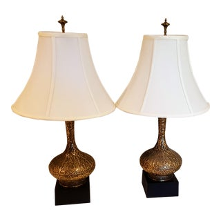 Westwood Industries Brass & Wood Table Lamps - A Pair