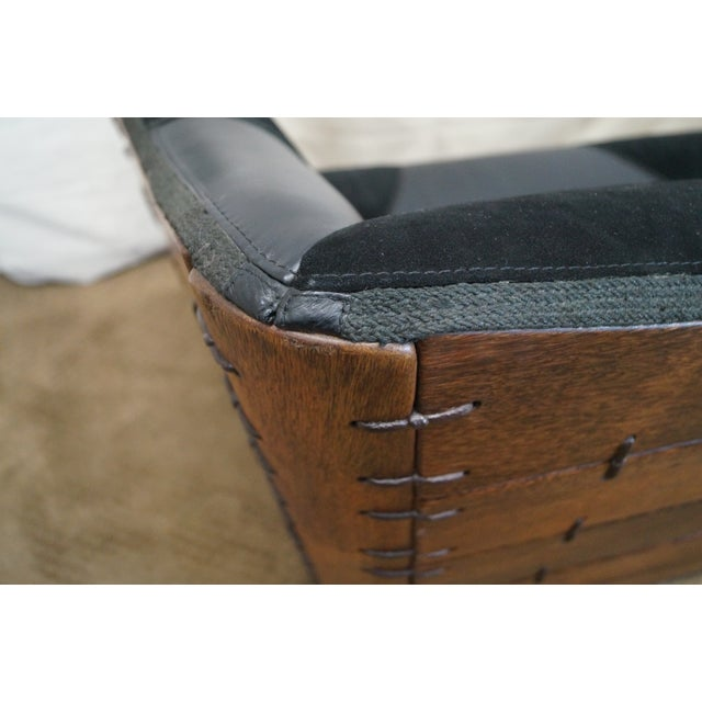 Vintage Brazilian Walnut & Black Leather Wing Sofa - Image 8 of 10