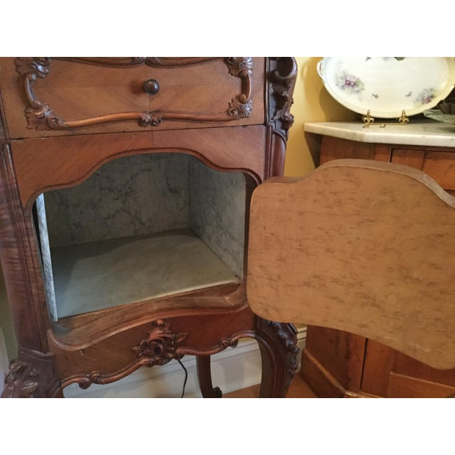 Antique French Country Marble Top Nightstand - Image 10 of 10