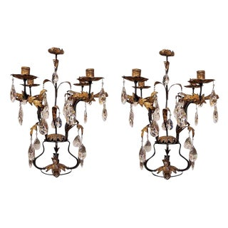 Pair of Gilt Iron and Crystal Girandoles