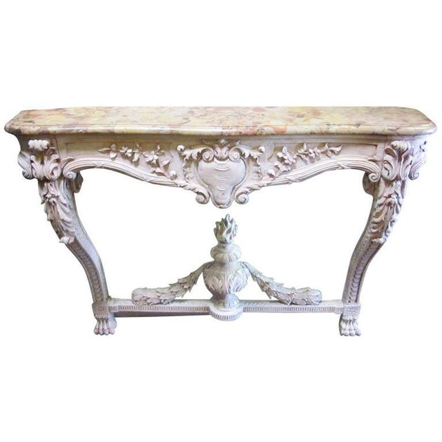 Image of A 19th Century French Louis XVI Style Console Table with Marble Top