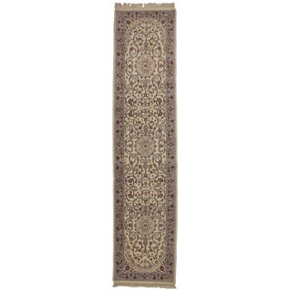 RugsinDallas Ivory Persian Style Hand-Knotted Wool Runner