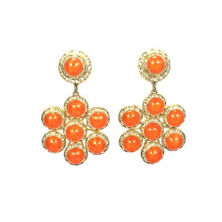 Orange Cabochon & Rhinestone Earrings