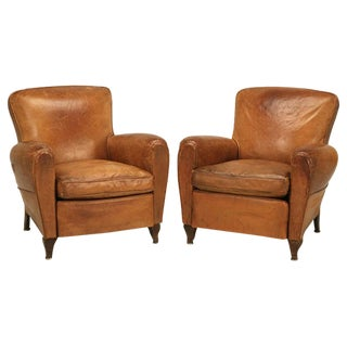Pair of Original Vintage French Leather Club Chairs
