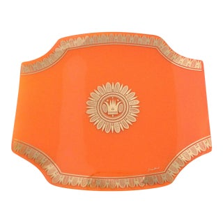 Georges Briard Orange Reverse Painted Glass Tray