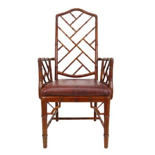 Old Chinese Chippendale Bamboo Arm Chair