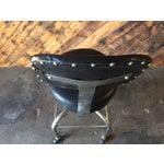 Image of Vintage Industrial Black Vinyl Rolling Stool