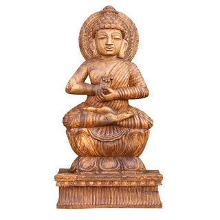 Hand Carved Full Size Wooden Buddha