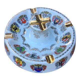Vintage Ansbach German Crest Gold Ash Tray
