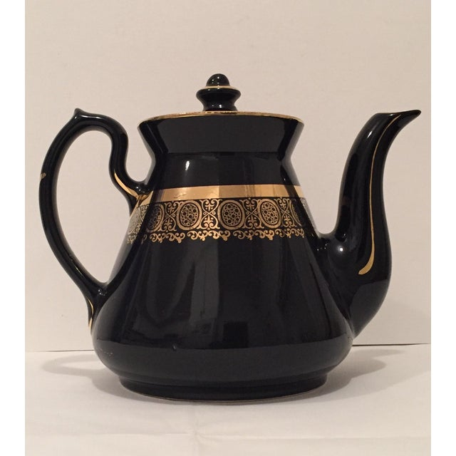 """Black and Gold Hollywood Regency """"Hall Usa"""" Teapot - Image 3 of 9"""
