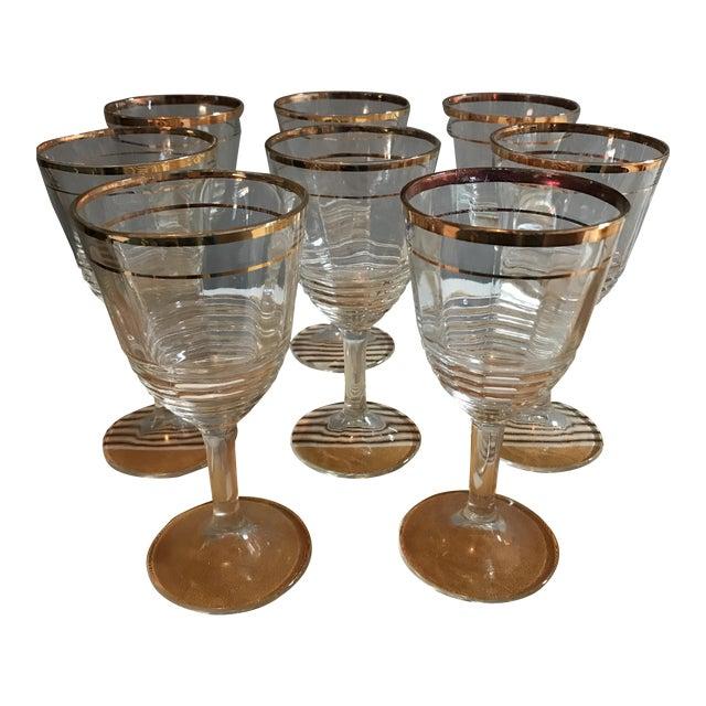 Gold Rimmed Glasses - Set of 8 - Image 1 of 6