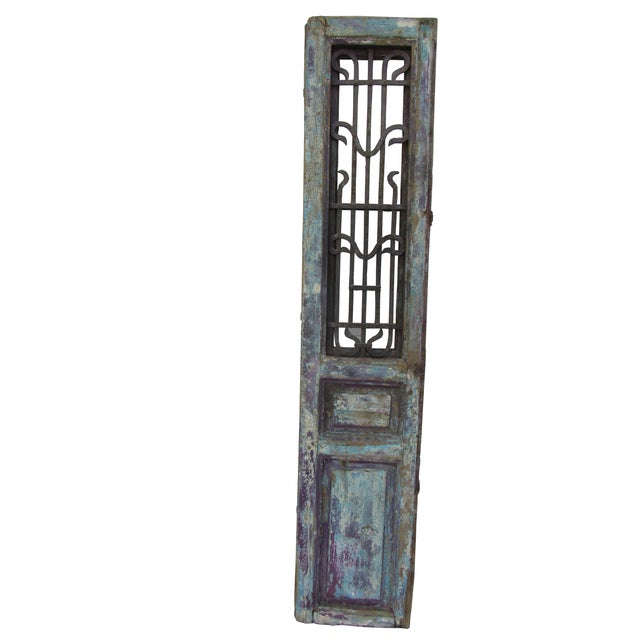 Architectural Mediterranean Door with Iron Grill - Image 1 of 9