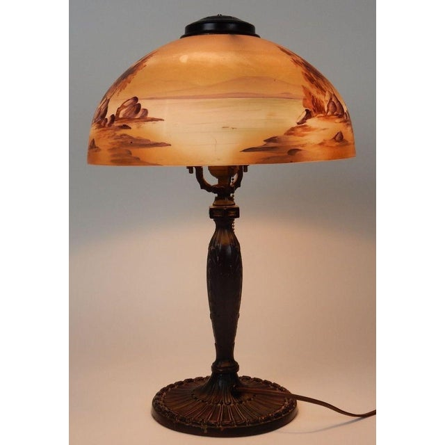 Antique Signed Pittsburgh Electric Reverse Painted Table Lamp - Image 10 of 11