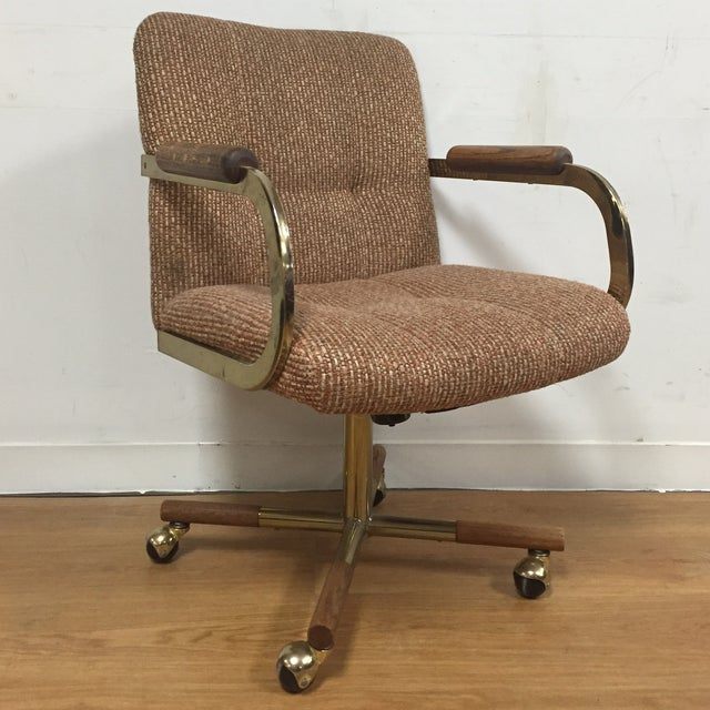 Milo Baughman Style Brass Office Desk Chair - Image 2 of 11