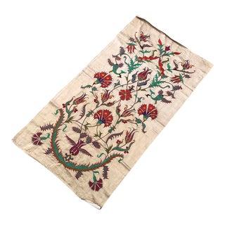 Clove Patterns Pure Silk Suzani Runner Handmade Suzani Tablecloth