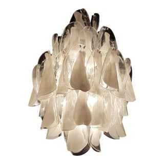 Mid Century White & Clear Mazzega Murano Glass Chandelier