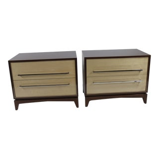 Mahogany & Satinwood 2 Drawer Nightstands- A Pair