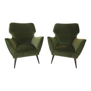 """Sculptural Italian Armchairs in """"Rolex Green"""" Velvet"""