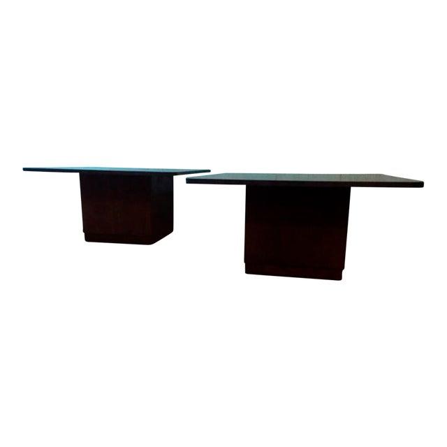 Image of Vintage Slate & Walnut Coffee Tables - A Pair