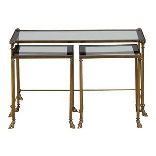 Trio Brass and Glass Rams Head and Hoof Feet Nesting Tables