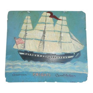 Folk Art Vintage Nautical Ship Painting