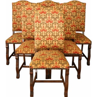 Vintage Renaissance-Style Oak Chairs - Set of 6