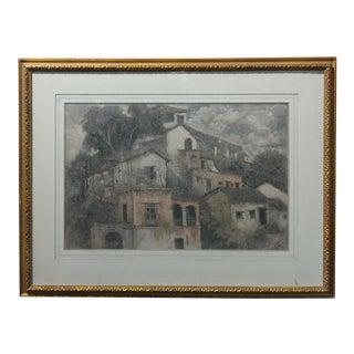 """Xavier Martinez """"Pueblo Village"""" Painting"""