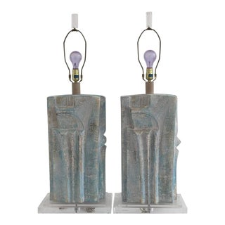 Brutalist Style Plaster Lamps in Aqua Blue Whitewash Finish